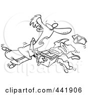 Royalty Free RF Clip Art Illustration Of A Cartoon Black And White Outline Design Of A Man Tripping And Dumping Folded Laundry