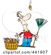 Royalty Free RF Clip Art Illustration Of A Cartoon Man Raking Leaves Watching Yet Another Fall by toonaday