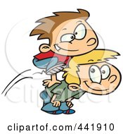 Royalty Free RF Clip Art Illustration Of Cartoon Boys Playing Leap Frog by toonaday