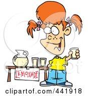 Royalty Free RF Clip Art Illustration Of A Cartoon Little Girl Selling Lemonade by toonaday