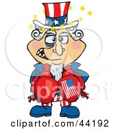 Clipart Illustration Of An American Uncle Sam Boxer With A Black Eye And Stars by Dennis Holmes Designs
