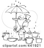 Royalty Free RF Clip Art Illustration Of A Cartoon Black And White Outline Design Of A Woman Catching Water From Leaks