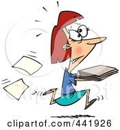 Royalty Free RF Clip Art Illustration Of A Cartoon Businesswoman Running With Late Files