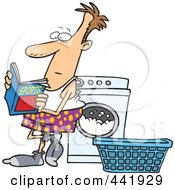 Royalty Free RF Clip Art Illustration Of A Cartoon Man Reading A Sports Magazine At A Laundromat by toonaday