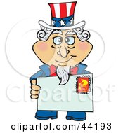 Clipart Illustration Of An American Uncle Sam Holding A Stamped Envelope by Dennis Holmes Designs