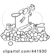 Royalty Free RF Clip Art Illustration Of A Cartoon Black And White Outline Design Of A Man Making Lemonade by toonaday