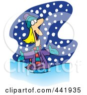 Royalty Free RF Clip Art Illustration Of A Cartoon Happy Woman In The Snow by toonaday