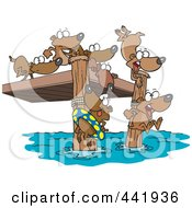 Royalty Free RF Clip Art Illustration Of Cartoon Swimming Lemmings