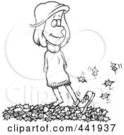 Royalty Free RF Clip Art Illustration Of A Cartoon Black And White Outline Design Of A Woman Walking In Leaves
