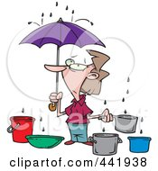 Royalty Free RF Clip Art Illustration Of A Cartoon Woman Catching Water From Leaks