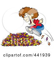 Royalty Free RF Clip Art Illustration Of A Cartoon Little Boy Jumping In Leaves by toonaday