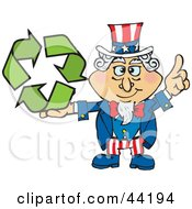 American Uncle Sam Holding Green Recycle Arrows