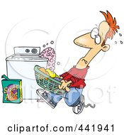 Royalty Free RF Clip Art Illustration Of A Cartoon Man Carrying A Basket Of Laundry By An Overflowing Washing Machine