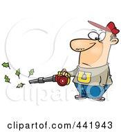 Royalty Free RF Clip Art Illustration Of A Cartoon Man Using A Leaf Blower by toonaday