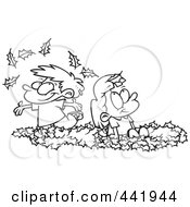 Royalty Free RF Clip Art Illustration Of A Cartoon Black And White Outline Design Of Kids Playing In Leaves