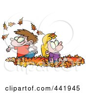 Royalty Free RF Clip Art Illustration Of Cartoon Kids Playing In Leaves by toonaday