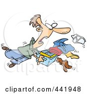 Royalty Free RF Clip Art Illustration Of A Cartoon Man Tripping And Dumping Folded Laundry