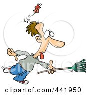 Royalty Free RF Clip Art Illustration Of A Cartoon Raking Man Being Knocked Out By A Falling Leaf by toonaday