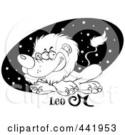 Cartoon Black And White Outline Design Of An Astrology Leo Lion Over A Black Starry Oval
