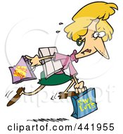 Royalty Free RF Clip Art Illustration Of A Cartoon Late Woman Carrying Shopping Bags