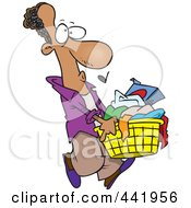 Royalty Free RF Clip Art Illustration Of A Cartoon Black Man Carrying A Laundry Basket