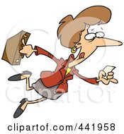Royalty Free RF Clip Art Illustration Of A Cartoon Businesswoman Running With A Lead