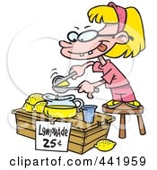 Royalty Free RF Clip Art Illustration Of A Cartoon Little Girl Making Lemonade by Ron Leishman