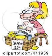 Royalty Free RF Clip Art Illustration Of A Cartoon Little Girl Making Lemonade