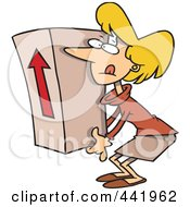Royalty Free RF Clip Art Illustration Of A Cartoon Businesswoman Lifting A Heavy Box by toonaday