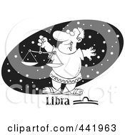 Royalty Free RF Clip Art Illustration Of A Cartoon Black And White Outline Design Of An Astrology Libra Man Over A Black Starry Oval