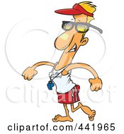 Royalty Free RF Clip Art Illustration Of A Cartoon Lifeguard Walking by toonaday