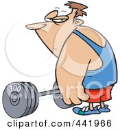 Royalty Free RF Clip Art Illustration Of A Cartoon Man Standing By A Barbell by toonaday
