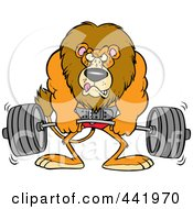 Royalty Free RF Clip Art Illustration Of A Cartoon Lion Weightlifting