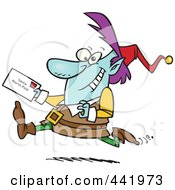 Royalty Free RF Clip Art Illustration Of A Cartoon Christmas Elf Running With A Letter For Santa