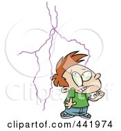 Royalty Free RF Clip Art Illustration Of A Cartoon Boy Afraid Of Lightning