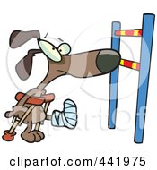 Cartoon Dog With A Broken Leg Approaching A Hurdle