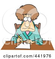 Royalty Free RF Clip Art Illustration Of A Cartoon Depressed Woman Writing A Letter by toonaday