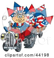 American Uncle Sam Driving A Tractor And Hauling Fireworks In A Trailer