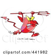 Royalty Free RF Clip Art Illustration Of A Cartoon Devil Running With A Trident by toonaday