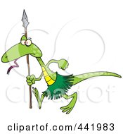 Royalty Free RF Clip Art Illustration Of A Cartoon Lizard Guard by toonaday