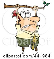 Royalty Free RF Clip Art Illustration Of A Cartoon Businessman Hanging From A Limb