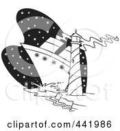 Royalty Free RF Clip Art Illustration Of A Cartoon Black And White Outline Design Of A Big Ship Near A Light House by toonaday