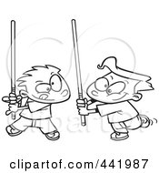 Cartoon Black And White Outline Design Of Boys Playing With Light Sabres