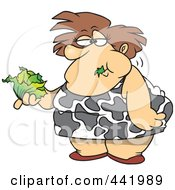 Royalty Free RF Clip Art Illustration Of A Cartoon Fat Woman Eating A Head Of Lettuce