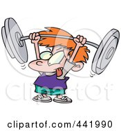 Royalty Free RF Clip Art Illustration Of A Cartoon Little Boy Lifting A Barbell by toonaday