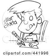 Royalty Free RF Clip Art Illustration Of A Cartoon Black And White Outline Design Of A Boy Writing A Dear Santa Letter