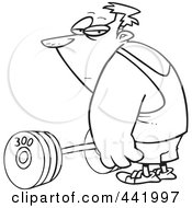 Royalty Free RF Clip Art Illustration Of A Cartoon Black And White Outline Design Of A Man Standing By A Barbell