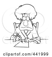 Royalty Free RF Clip Art Illustration Of A Cartoon Black And White Outline Design Of A Depressed Woman Writing A Letter