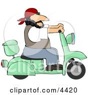 Harley Biker Man Wearing A Bandanna And Driving A Motor Scooter Clipart