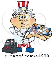 Clipart Illustration Of An American Uncle Sam Pharmacist Holding A Handful Of Pills